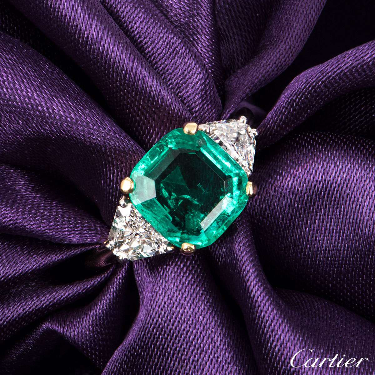 Cartier Yellow Gold Emerald And Diamond Ring